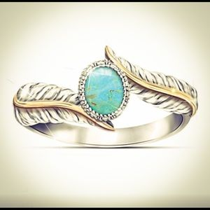 Magnificent Sterling Silver Turquoise Feather Ring